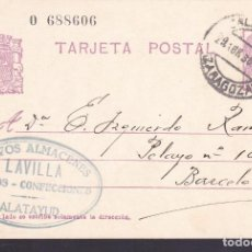 Sellos: F4-61-ENTERO POSTAL NUEVOS ALMACENES LAVILLA CALATAYUD (ZARAGOZA) 1936. Lote 144810158