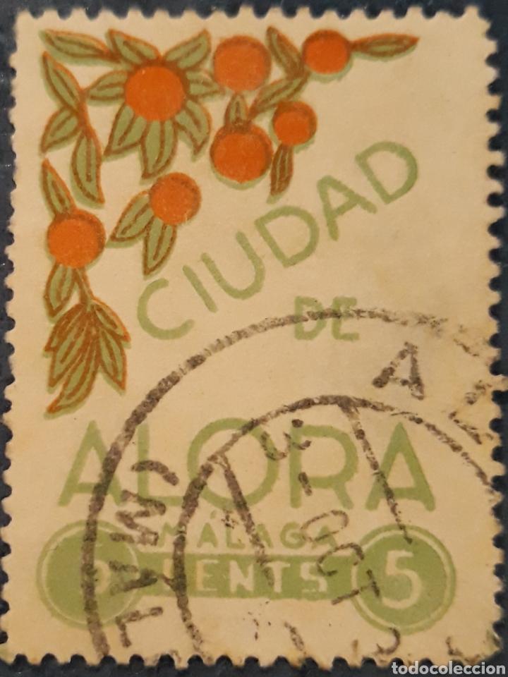 SELLO II REPUBLICA CIUDAD DE ALORA MALAGA 5 CENTIMOS (Sellos - España - II República de 1.931 a 1.939 - Usados)