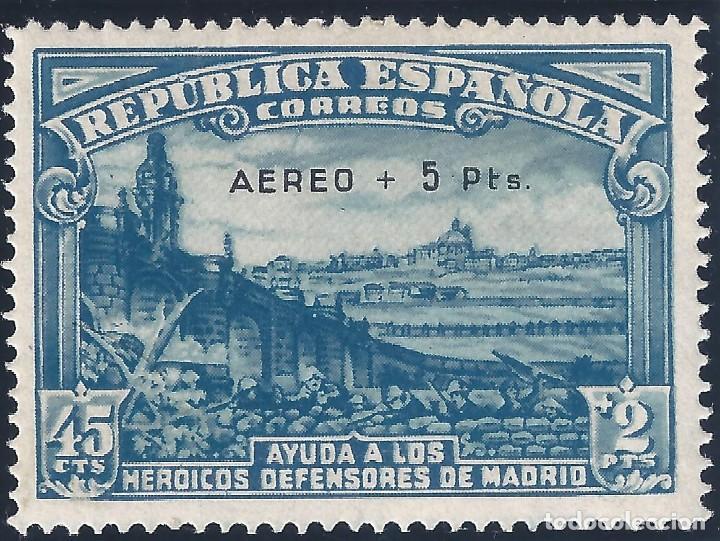 EDIFIL 759 DEFENSA DE MADRID 1938. SOBRECARGA AUTÉNTICA. CERTIFICADO CMF. LUJO. MLH. (Sellos - España - II República de 1.931 a 1.939 - Nuevos)