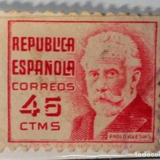 Sellos: REPÚBLICA ESPAÑOLA 1936 , SELLO PABLO IGLESIAS, 45 CENTIMOS . Lote 145542846