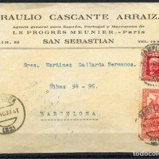Sellos: REPÚBLICA ESPAÑOLA, SOBRE, CORREO URGENTE CERTIFICADO, PAMPLONA, 1933. Lote 147669018