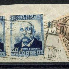Sellos: REPÚBLICA ESPAÑOLA, SELLO, PERSONAJES, PERFORADO B.V., BANCO VIZCAYA. Lote 148504930