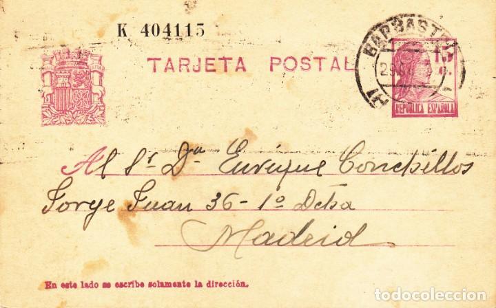 TARJETA POSTAL: 1935 BARBASTRO - MADRID (Sellos - España - II República de 1.931 a 1.939 - Cartas)