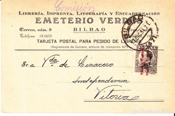 TARJETA POSTAL: 1934 LIBRERIA EMETERIO VERDES ( BILBAO ) - VITORIA (Sellos - España - II República de 1.931 a 1.939 - Cartas)