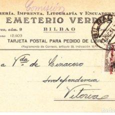 Timbres: TARJETA POSTAL: 1934 LIBRERIA EMETERIO VERDES ( BILBAO ) - VITORIA. Lote 151070206