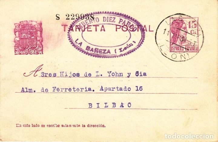TARJETA POSTAL: 1934 LIBERTO DIEZ PARDO - LA BAÑEZA ( LEON ) - BILBAO (Sellos - España - II República de 1.931 a 1.939 - Cartas)