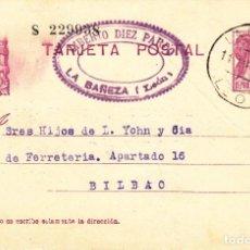 Timbres: TARJETA POSTAL: 1934 LIBERTO DIEZ PARDO - LA BAÑEZA ( LEON ) - BILBAO. Lote 151070618