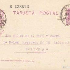 Sellos: TARJETA POSTAL: 1934 DESIDERIO EZCURRA TAFALLA ( NAVARRA ) - BILBAO. Lote 151071694