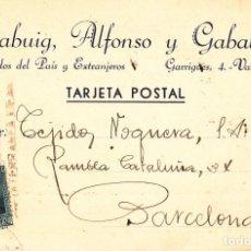 Sellos: TARJETA POSTAL: 1932 CALABUIG-ALFONSO Y GABALDON ( VALENCIA ) - BARCELONA. Lote 151073054