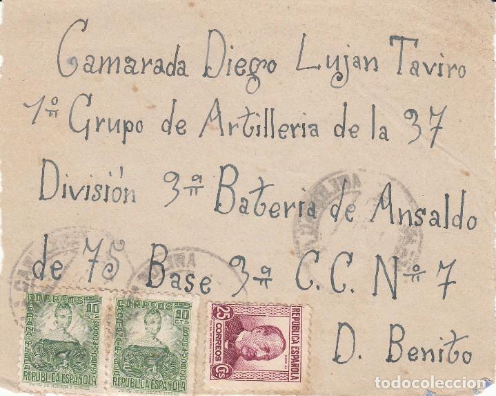 CARATULA SOBRE: 1º GRUPO ARTILLERIA - 37 DIVISION / DON BENITO ( BADAJOZ ) (Sellos - España - II República de 1.931 a 1.939 - Cartas)