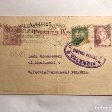 Sellos: REPUBLICA ESPAÑOLA. TARJETA POSTAL FRANQUEADA VALENCIA- VARSOVIA (ABRIL DE 1937). Lote 151179397