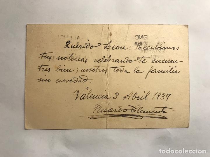 Sellos: REPUBLICA ESPAÑOLA. Tarjeta postal franqueada Valencia- Varsovia (Abril de 1937) - Foto 2 - 151179397