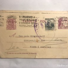 Sellos: REPUBLICA ESPAÑOLA. TARJETA POSTAL FRANQUEADA VALENCIA- VIENA (ABRIL DE 1937). Lote 151179514
