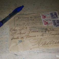 Sellos: SOBRE CARTA DEL BALNEARIO DE CUCHO, CENSURA MILITAR DE MIRANDA DE EBRO, 22 JULIO DE 1939. Lote 151192010