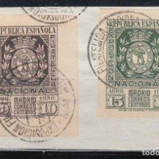 Sellos: ESPAÑA, 1936 EDIFIL Nº 727 / 728, MATASELLOS ESPECIAL EXPOSICIÓN FILATELICA NACIONAL, . Lote 151330590