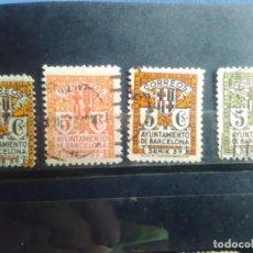 Sellos: EDIFIL 9, 10, 11 Y 12 - BARCELONA - ESCUDO DE LA CIUDAD - AÑO 1932 - 35.. Lote 151479082