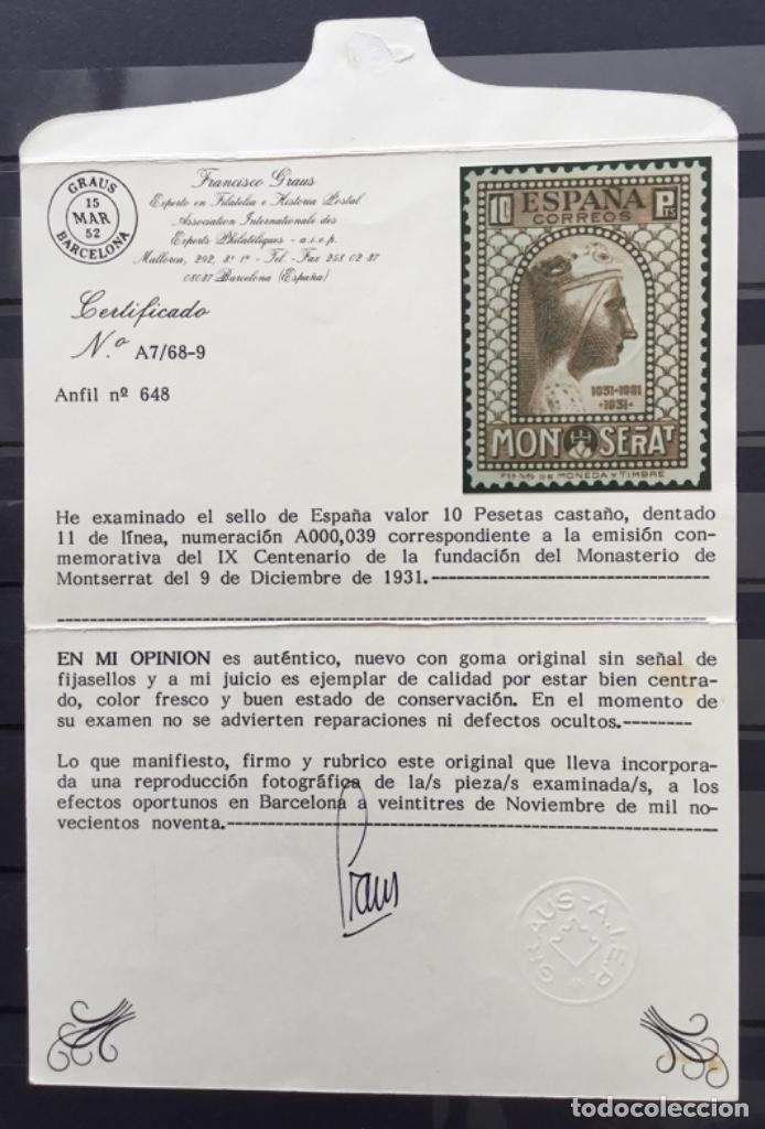 Sellos: España 1931 - IX centenario Fundación monasterio de Montserrat - Edifil 636/649** MNH. Certificado - Foto 36 - 152728870