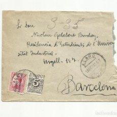 Sellos: CIRCULADA 1931 DE ALARO BALEARES A RESIDENCIA ESTUDIANTS BARCELONA. Lote 153446542