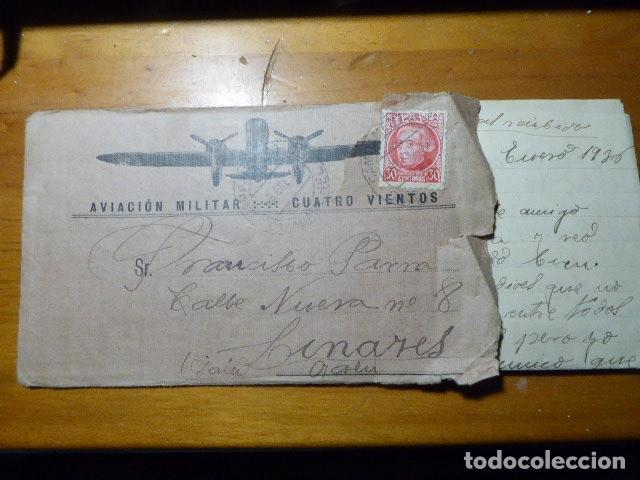 CARTA AVIACION MILITAR CUATRO VIENTOS. CIRCULADA CON SU CONTENIDO. 9-1-36. REPUBLICA. MUY RARA. (Sellos - España - II República de 1.931 a 1.939 - Cartas)