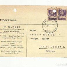 Sellos: TARJETA CIRCULADA 1934 DE SUIZA A CARCAIXENT CARCAGENTE VALENCIA. Lote 154289206