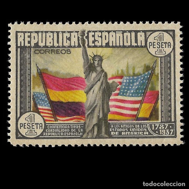 SELLOS.ESPAÑA. II REPÚBLICA.1938. ANIVERSARIO CSTITUCIÓN EEUU. 1P. MULTICOLOR. NUEVO**. EDIFIL.763 (Sellos - España - II República de 1.931 a 1.939 - Nuevos)