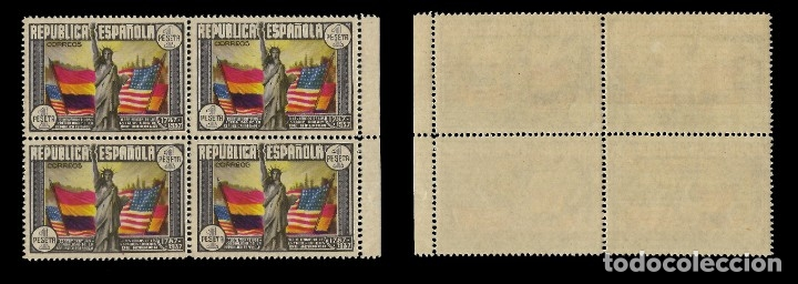 Sellos: II República.1938.Aniv. Const. EEUU.1p.Blq 4.MNH Edifil 763 - Foto 3 - 155877950