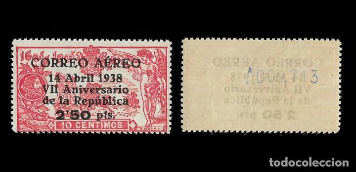 Sellos: Sellos.España. II República.1938. VII Aniversario República.Habilitado.2,50 p s 10c.Nuevo** Edif 756 - Foto 2 - 155888146