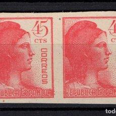 Sellos: ESPAÑA 752** SIN DENTAR - BLOQUE DE 2 - AÑO 1938 - ALEGORIA DE LA REPUBLICA. Lote 156756974