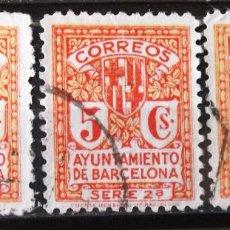 Sellos: BARCELONA, EDIFIL 10NA, TRES SELLOS, USADOS, SIN LETRA DE SERIE. ESCUDO.. Lote 156870330