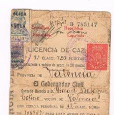 Sellos: VIÑETA 1 PTA ROJA DE GUARDERIA DE NIÑOS VALENCIA - LICENCIA DE CAZA1932 REPUBLICA. Lote 156878086