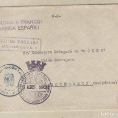 Sellos: SOBRE CENSURA MILITAR SANTANDER. ESTADO ESPAÑOL FRANQUICIA ORGANIZACIÓN Y ACCIÓN SINDICAL. 1938. Lote 157379354