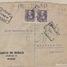 Sellos: SOBRE CERTIFICADO CENSURA MILITAR BILBAO. BANCO DE BILBAO. VIVA ESPAÑ 1939. Lote 157379746