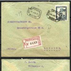 Sellos: REPÚBLICA ESPAÑOLA, SOBRE, CORREO CERTIFICADO, MADRID, SUIZA, 1935. Lote 157865902