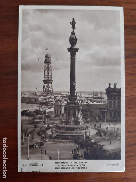 TARJETA POSTAL COLON CIRCULADA 1935 DE BARCELONA A VIENA AUSTRIA (Sellos - España - II República de 1.931 a 1.939 - Cartas)