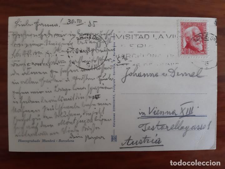 Sellos: tarjeta postal colon circulada 1935 de barcelona a viena austria - Foto 2 - 158122650
