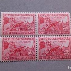 Sellos: ESPAÑA - 1938 - II REPUBLICA - EDIFIL 795 - BLOQUE 4 - MNH** - NUEVOS - LUJO - BIEN CENTRADOS.. Lote 158465186