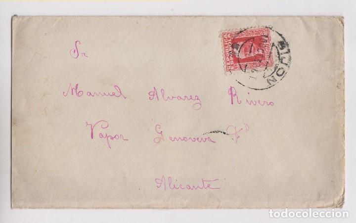 SOBRE. GIJÓN, ASTURIAS. 1932. AL VAPOR GENOVEVA. ALICANTE (Sellos - España - II República de 1.931 a 1.939 - Cartas)