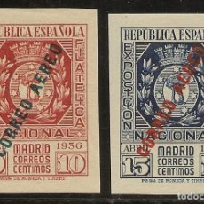 Sellos: ESPAÑA EDIFIL 729/730* MH EXPOSICIÓN FILATÉLICA AÉREO SERIE COMPLETA 1936 NL1605. Lote 160858342
