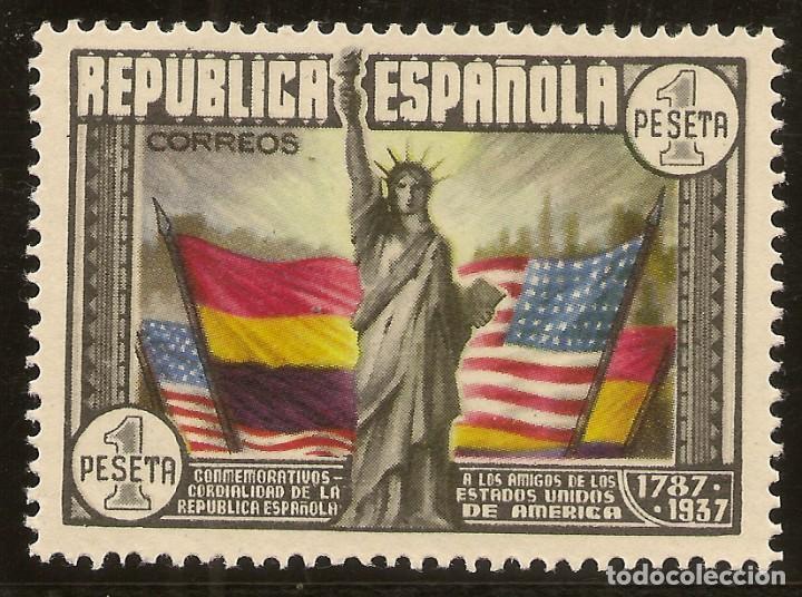 ESPAÑA EDIFIL 763* MH 1 PESETA MULTICOLOR CONSTITUCIÓN EEUU 1938 NL381 (Sellos - España - II República de 1.931 a 1.939 - Nuevos)