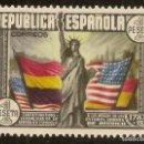Sellos: ESPAÑA EDIFIL 763* MH 1 PESETA MULTICOLOR CONSTITUCIÓN EEUU 1938 NL381. Lote 160982898