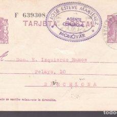 Sellos: F2-33- ENTERO POSTAL MONOVAR (ALICANTE) 1935. Lote 161108714
