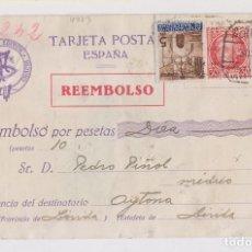 Sellos: TARJETA. CERTIFICADO REEMBOLSO. BARCELONA A LÉRIDA. 1936. Lote 161875338
