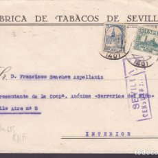 Sellos: CM1-17- GUERRA CIVIL CARTA CORREO INTERIOR SEVILLA 1937. CENSURA Y LOCAL. Lote 162124374