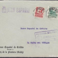 Sellos: CM1-23- GUERRA CIVIL FRONTAL JEREZ DE LA FRONTERA 1937. LOCAL Y CENSURA. Lote 162124786