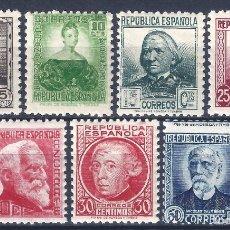 Sellos: EDIFIL 681-688 PERSONAJES 1933-1935 (SERIE COMPLETA) (VARIEDAD..686 SIN PIE DE IMPRENTA). MNH **. Lote 145068186