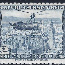 Sellos: EDIFIL 689 AUTOGIRO LA CIERVA 1935. FONDO CIELO BLANCO. VALOR CAT: 58 €. LUJO. MLH.. Lote 163971358