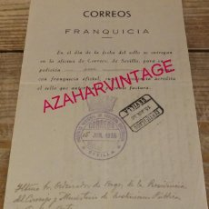 Sellos: SEVILLA, 1936, DOCUMENTO CON FRANQUICIA INSTITUTO NACIONAL DE SEGUNDA ENSEÑANZA, RARO. Lote 164094666
