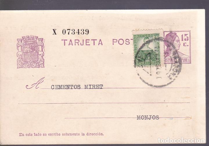 HP5-18- ENTERO POSTAL BARCELONA- MONJOS 1937.MARCA INDUSTRIA COL-LECTIVA COMITÉ CNT-AIT (Sellos - España - II República de 1.931 a 1.939 - Cartas)