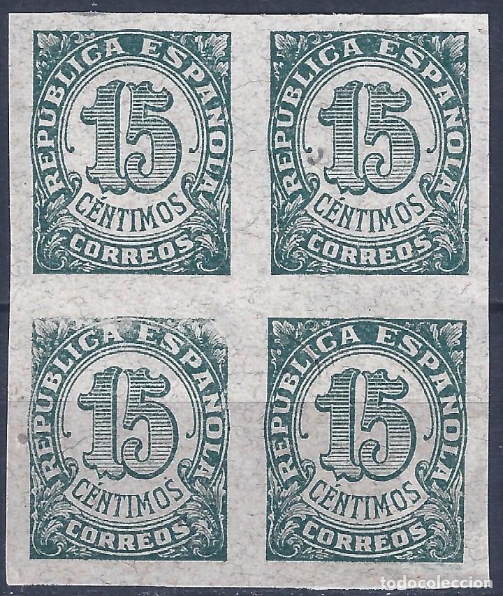 EDIFIL 747S CIFRAS 1938. BLOQUE DE 4 (VARIEDAD...ERROR IMPRESIÓN). VALOR CATÁLOGO: 96 €. LUJO. (Sellos - España - II República de 1.931 a 1.939 - Nuevos)