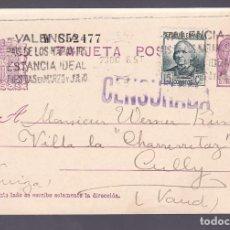 Sellos: F2-88- ENTERO POSTAL VALENCIA-SUIZA 1936. CENSURADA. FRANQUEO COMPLEMENTARIO. Lote 165746710